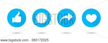 Icon Of Like, Share, Comment And Thumb. Button For Social Media. Ui For Repost, Love, Post. Logo And