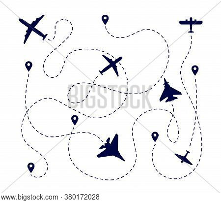 Plane Paths. Aircraft Way, Dotted Path Or Road. Airplane Fly Route. Travel Transportation Pathway Wi