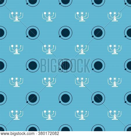 Set Satellites Orbiting The Planet Earth And Solar System On Seamless Pattern. Vector