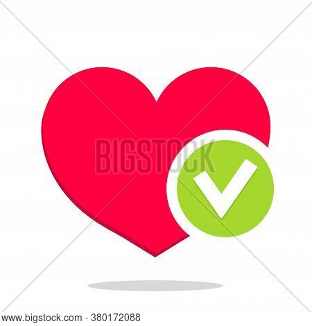 Heart With Tick. Icon Of Health. Logo For Checkmark. Positive Check After Test. Mark Of Healthy Life