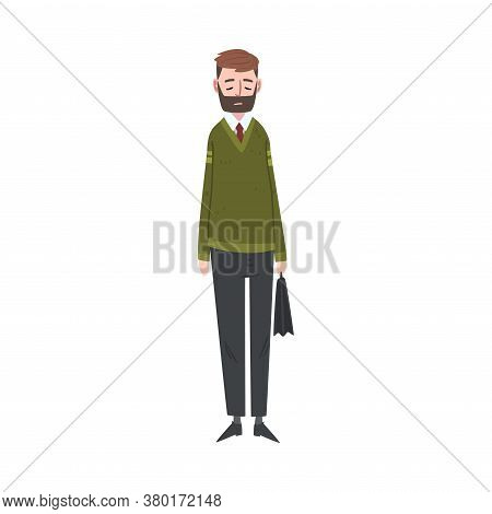 Unhappy Businessman Standing With Briefcase, Stressed Male Office Worker Character, Tired Or Exhaust