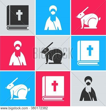Set Holy Bible Book, Jesus Christ And Easter Rabbit Icon. Vector