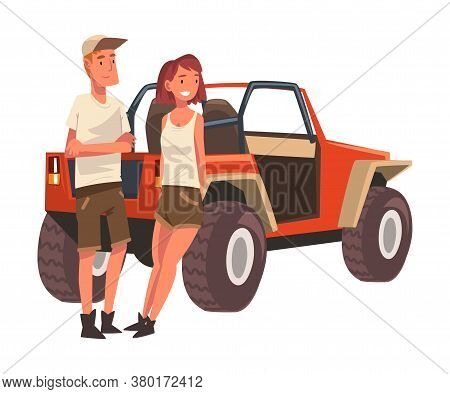 Couple Of Travellers Standing In Front Of Jeep Car Suv, African Safari Travel, Male And Female Touri