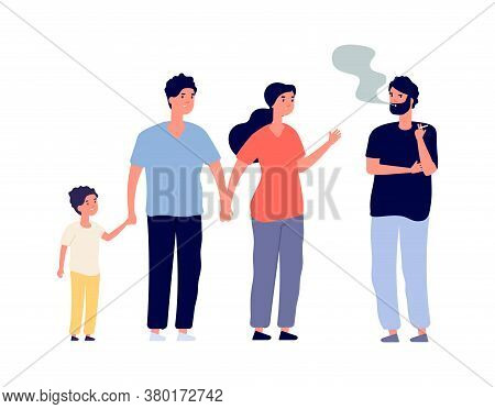 Passive Smokers. Guy Smoking In Public Place. Family With Children And Man With Drug Or Nicotine Add
