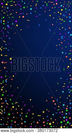 Festive Unique Confetti. Celebration Stars. Festive Confetti On Dark Blue Background. Fascinating Fe
