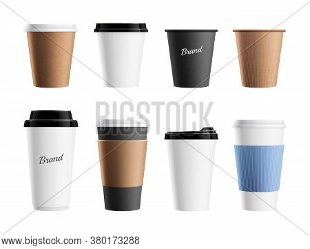 Paper Cup Mockup. Brown Eco Mug Template For Coffee Cappuccino Latte. Branding Realistic Drinks Pack
