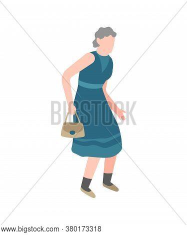Elderly Woman Walking. Happy Old Senior With Little Bag Walks In Park Alone, Healthy Leisure Lifesty