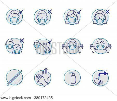 Covid-19 Line Icon Set On The Topic Of Coronovirus. Included Icons On How To Wear A Mask Correctly,