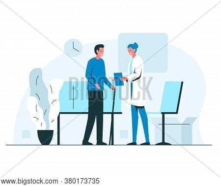 Man With A Walking Stick At The Doctors Appointment. Vector Concept Illustration Of A Standing Smili