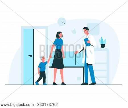 Woman And A Little Boy At The Doctors Appointment. Vector Concept Medical Illustration Of A Smiling