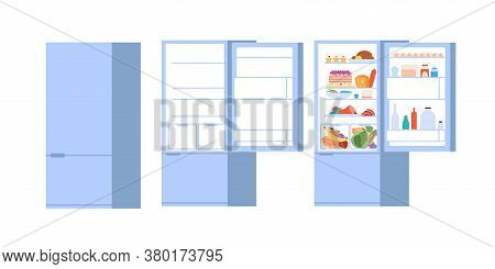 Food Open Fridge. Closed Opened Refrigerator, Flat Full And Empty Foods Storage With Doors. Isolated