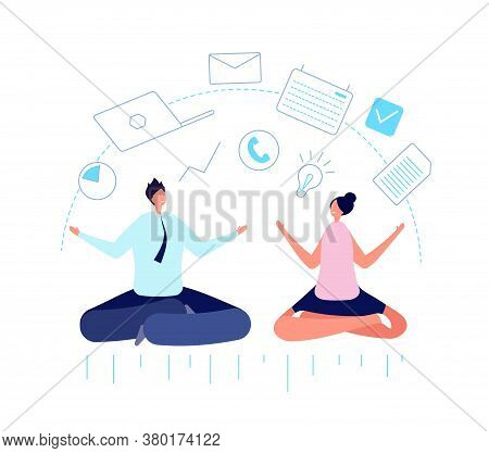 Multitask Office People. Meditate Businessman, Work Planning And Team Discipline. Multitasking Mind,