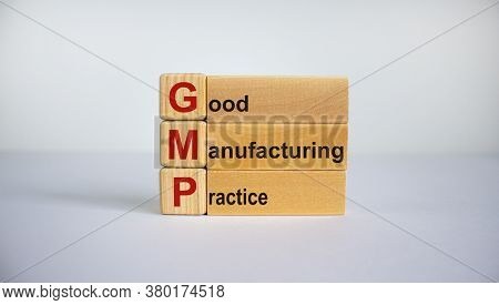 Concept Words 'gmp, Good Manufacturing Practice' On Cubes And Blocks On A Beautiful White Background