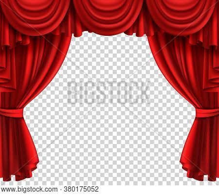 Red Theatre Curtain. Realistic Scene Glamour Portiere On Transparent Background, Cinema Or Circus Dr