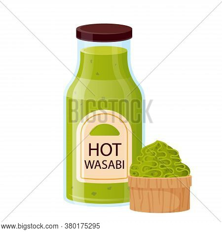 Wasabi Sauce With Bowl Cup. Asian Condiment, Hot Wasabi In Glass Bottle For Sushi, Cartoon Style. Ja