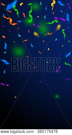 Streamers And Confetti. Colorful Streamers Tinsel And Foil Ribbons. Confetti Falling Rain On Dark Bl