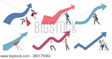 Crisis Management. Businessmen Change Business Direction Pushing Upwards Financial Chart Arrow, Mark