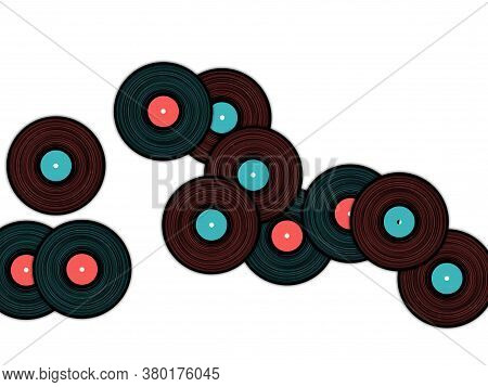 Vinyl Records Falling Vector Musical Background. Cool Music Symbols, Vintage Style Vinyl Records Vec