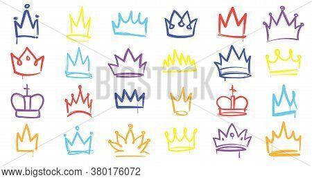 King Sketch Crown. Color Simple Elegant Queen, Princess And Prince Crowns. Monarch Majestic Jewel Ti