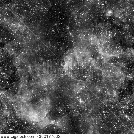 Cosmic Fabric Seamless Pattern. Black And White Abstract Background. Design For Wrapping Paper, Yoga