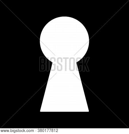 White Keyhole On Black Background. Mysterious Door Lock. Look Into Safe Gap. Vector
