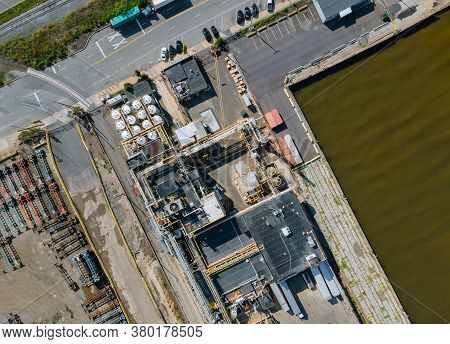 Crude Oil Storage Terminal, Pipeline Operations, Distributes Petroleum Products Aerial View Of Tank