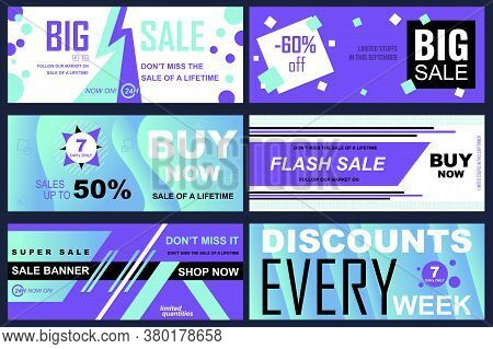 Set Of Sale Banners For Online Shopping. Vector Illustrations For Website And Mobile Website Social