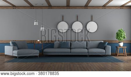 Blue And Gray Elegant Living Room With Sofa And Chaise Louge - 3d Rendering