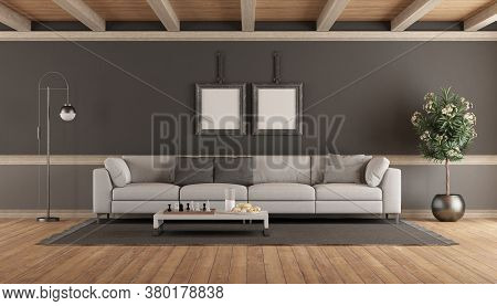 Living Room With White Sofa Against Gray Wall - 3d Rendering
