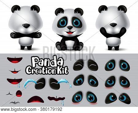 Panda Animals Character Creator Vector Set. Pandas Character Editable Eyes And Mouth Create Kit With