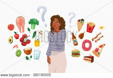 Happy Young Black African American Woman Thinking About Choosing Menu. Choice Between Healthy And Un