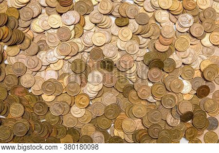 Monetary Background From The Russian Coins Of Kopeks