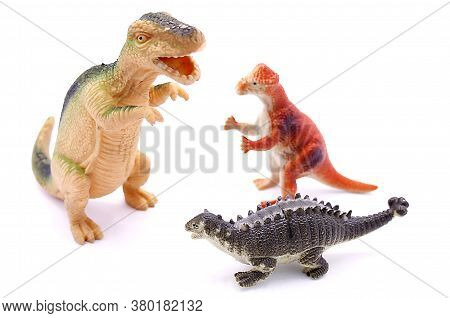 Baby Toys Three Dinosaurs Close Up Isolated On White Background