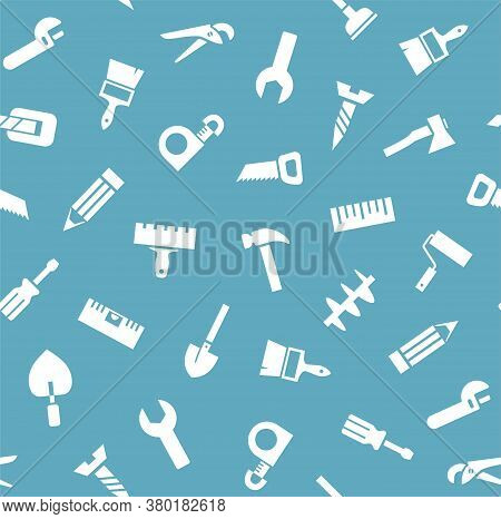 Hand Tool, Construction, Seamless Pattern, Blue. White Icons On A Blue Field. Color Flat Background.