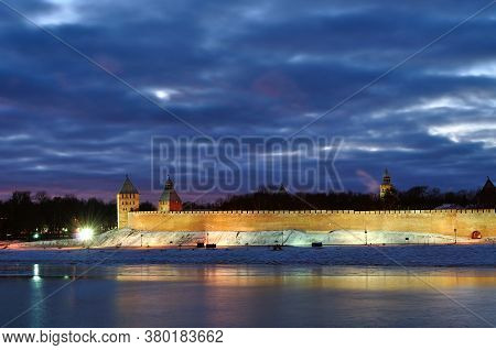 Veliky Novgorod, Russia. Night panoramic view of Veliky Novgorod Kremlin walls in winter night in Veliky Novgorod, Russia