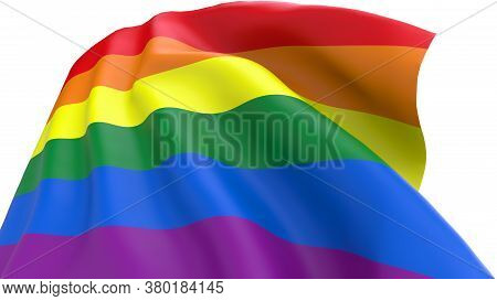 Lgbt Flag Waving On White Background Isolated With Clipping Path. Lgbt Flag Or Rainbow Pride Flag In