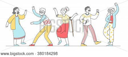 Group Of Happy Old People Dancing Flat Illustration. Cartoon Grandfathers And Grandmothers Enjoying