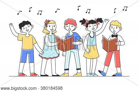 Kids Choir Singing Cheerful Song Flat Illustration. Group Of Children Singing Together In Church. Ac