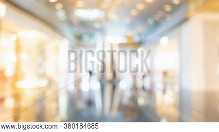 Abstract Blurred Of Modern Luxury Department Store Hall Or Shopping Center Mall. Blurred Image  Abst