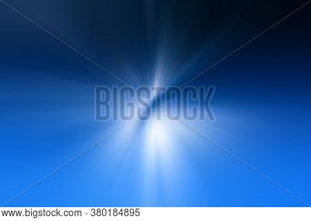 Abstract Light Blue, White Zoom Effect Background. Digitally Generated Image. Rays Of  Light Blue,wh