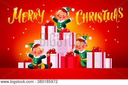 Beautiful Holiday Illustration With Three Santa Elves At Big Pile Of Christmas Presents Decorated Wi