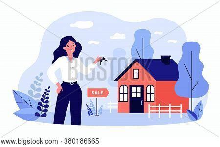 Woman Holding Keys From House For Sale And Smiling Isolated Flat Vector Illustration. Cartoon Realty