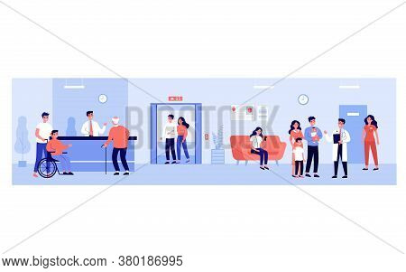 People In Hospital Hall. Patients Waiting Their Turn At Doctor Office, Standing At Reception. Vector