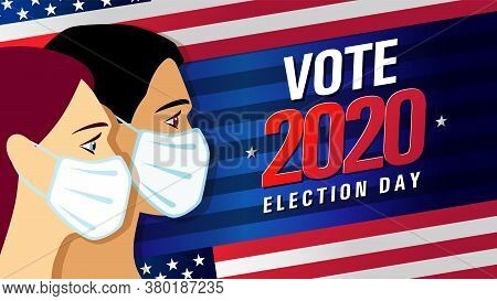 Vote 2020 In Usa, Blue Stripes Banner With People On Flag. American Patriotic Background Election Da