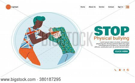 Stop Bullying Web Banner Template With Older Boy Beating And Bullying A Younger Boy, Flat Vector Ill