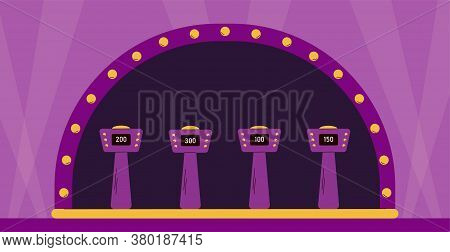 Empty Illuminated Stage Of Quiz Tv Show Shooting With Stands For Players, Flat Cartoon Vector Illust