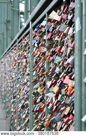A Thousands Of Colourful Love Padlocks Onthe Hohenzollern Bridge In Cologne, Germani.