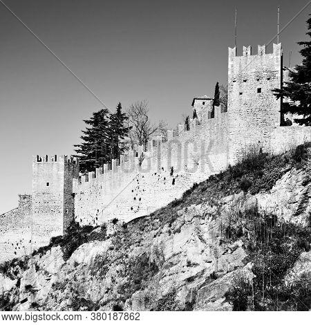 The City walls of San Marino, The Respublic of San Marino. Black and white photography