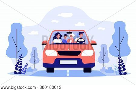 Happy Family Travelling In Car Isolated Flat Vector Illustration. Front View Of Cartoon Father, Moth