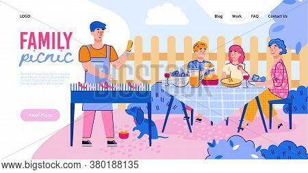 Family Picnic Banner - Father Cooking Barbecue Meal For Cartoon Family At Outdoor Dining Table. Happ